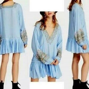 Free People Wild One Blue Embroidered Dress Small